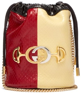 Gucci Zumi Colour-block Elaphe Cross-body Bucket Bag - Red