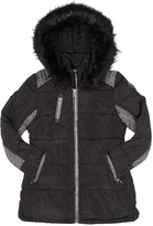 Point Zero Black Contrast-Accent Hooded Ego Puffer Jacket