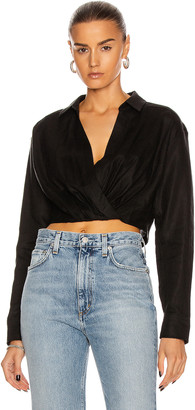 Marissa Webb Maxwell Linen Shirt in Linen Black | FWRD
