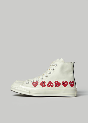 Comme des Garcons Women's Play Converse High Chuck Taylor Multi Heart Sneaker in Off White Size 10 Textile/Rubber
