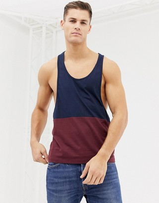 ASOS DESIGN extreme racer back tank with contrast yoke in burgundy