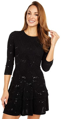 MICHAEL Michael Kors Sequin Jacquard Double Tier Dress (Black) Women's Clothing