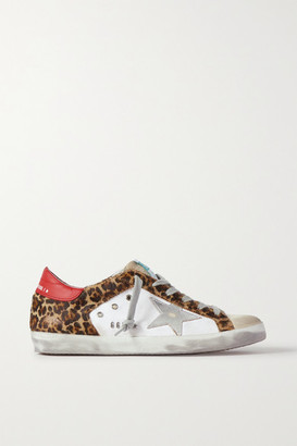 Golden Goose Superstar Distressed Leopard-print Calf Hair, Leather And Suede Sneakers - White