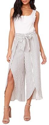 BB Dakota Yarn-Dye Rayon Stripe Faux Wrap Pants (Ivory) Women's Casual Pants