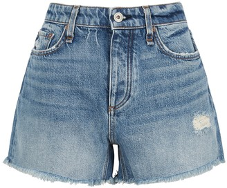 Rag & Bone Dre blue distressed denim shorts