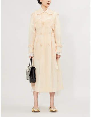 Simone Rocha Embroidered ruffled-trim mesh trench coat