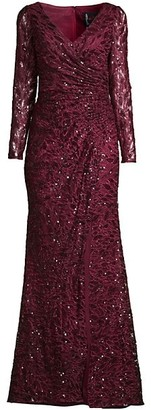 Mac Duggal Illusion Damask Embroidered Sequin Column Gown