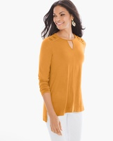 Chico's Lacing Detail Top in Burnt Yellow Ochre