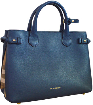 Burberry The Banner Navy Leather Handbags