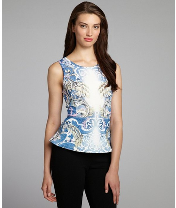 Wyatt blue ornate print stretch neoprene peplum sleeveless top