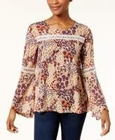 Style&Co. Style & Co Style & Co Petite Bell-Sleeve Mesh Peasant Top, Created for Macy's