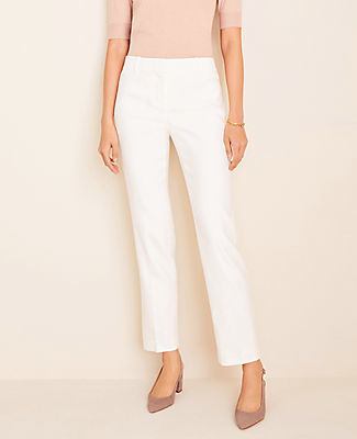 Ann Taylor The Petite Straight Pant In Linen Herringbone - Curvy Fit