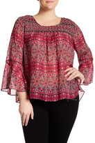 Jessica Simpson Wilma Printed Bell Sleeve Blouse (Plus Size)