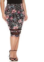 Boutique + + Mesh Insert Pencil Skirt - Plus