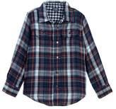Tailor Vintage Long Sleeve Indigo Reversible Double Face Shirt (Toddler & Little Boys)