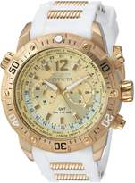 Invicta Men's 'Aviator' Quartz Stainless Steel and Silicone Casual Watch, Color:White