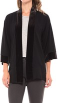 August Silk Lace-Back Cardigan Shirt - Velvet Trim, 3/4 Sleeve (For Women)