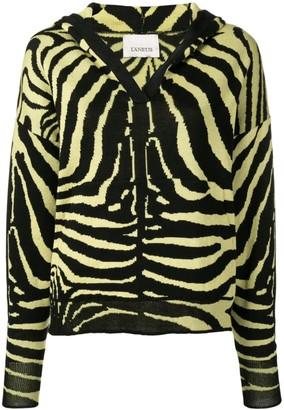 Laneus zebra print hooded jumper