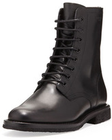 Saint Laurent Flat Lace-Up Ranger Boot, Black