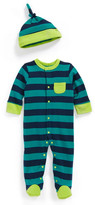 Offspring Stripe One-Piece & Hat (Baby Boys)