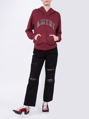 Amiri Cropped Straight Music Note Patch Jeans
