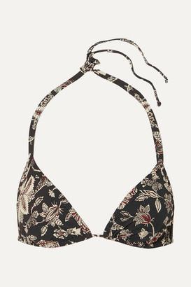 Isabel Marant Shayla Floral-print Triangle Bikini Top - Black