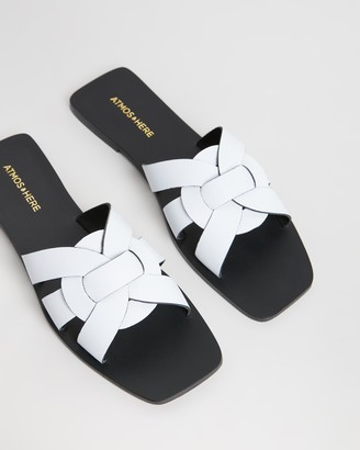 Atmos & Here Syrah Leather Slides