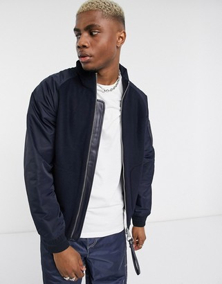 Armani Exchange wool mix jacket in navy