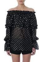 Saint Laurent Polka Dot Black Georgette Blouse