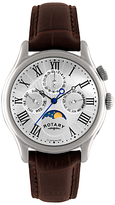 Rotary Gs02838/01 Timepieces Moon Phase Chronograph Leather Strap Watch, Brown/silver