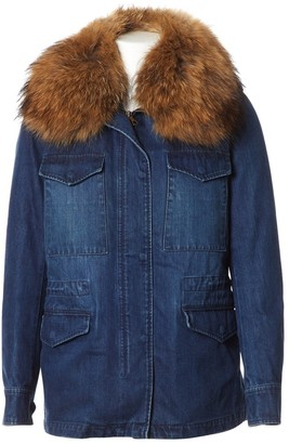Yves Salomon Blue Rabbit Coat for Women