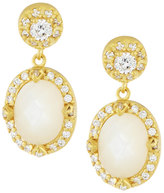 Freida Rothman Oval Mother-of-Pearl & CZ Crystal Drop Earrings