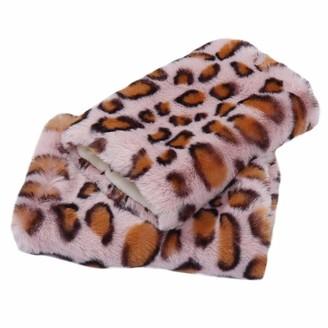 Panda Legends Pink Leopard Print Women Winter Warm Arm Sleeve Short Plush Arm Warmer Fingerless Thumb Hole Mittens Gloves
