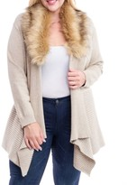 Fever Plus Size Faux-Fur-Collar Open-Front Cardigan