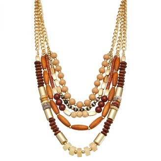 Sonoma Goods For Life Wood & Metal Layered Statement Necklace
