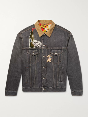 Gucci Corduroy-Trimmed Appliqued And Printed Denim Jacket