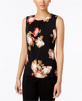 Calvin Klein Pleated Floral-Print Shell