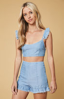 MinkPink Bella Ruffle Denim Bralette Top