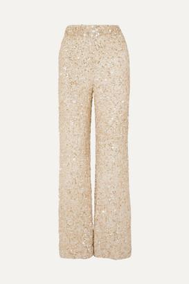 retrofete Hope Sequined Chiffon Wide-leg Pants - Beige