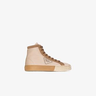 Prada Brown Gabardine High Top Sneakers