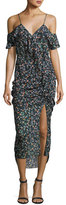 Veronica Beard Ruched Floral Silk Cold-Shoulder Midi Dress, Black