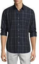 Theory Sylvain Imandra Slim-Fit Check Sport Shirt, Blue