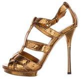 Gucci Metallic Snakeskin T-Strap Sandals