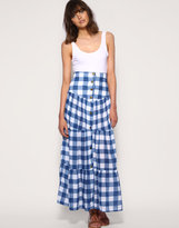 Fairground Button Front Tiered Check Maxi Skirt