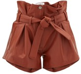 ATTICO The Pleated High-rise Leather Shorts - Womens - Brown
