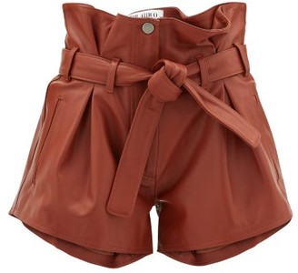ATTICO Pleated High-rise Leather Shorts - Brown