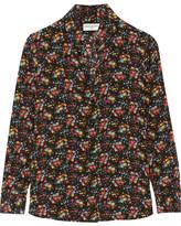 Saint Laurent Floral-print Silk Crepe De Chine Shirt - Black