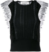 Valentino lace insert knitted top - women - Cotton/Polyamide/Virgin Wool - S