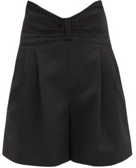 RED Valentino Bow-waist Grain De Poudre Shorts - Black