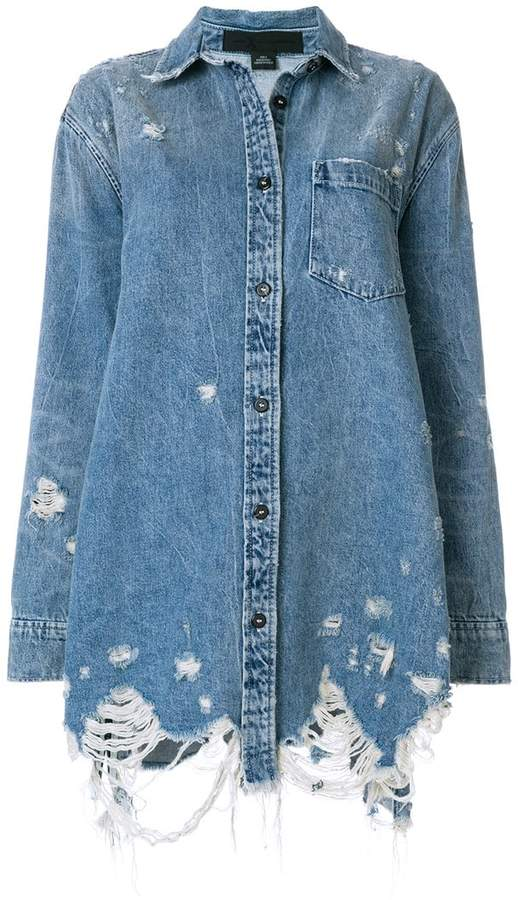 Alexander Wang oversized distressed denim jacket
